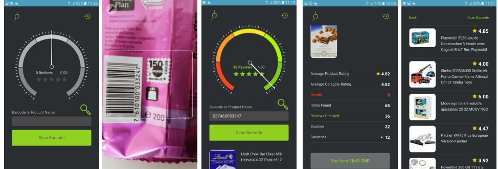 Smart Shopper App Review Screens